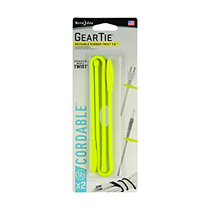 Nite Ize Gear Tie Cordable, The Orginal Reusable Rubber Twist Tie with Stretch-Loop