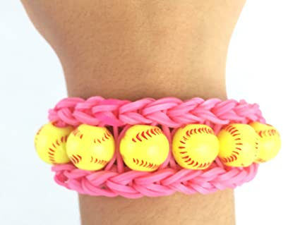 3989784ded9a Image Unavailable. Image not available for. Color  Softball Pink Bracelet  Rainbow Loom Handmade ...