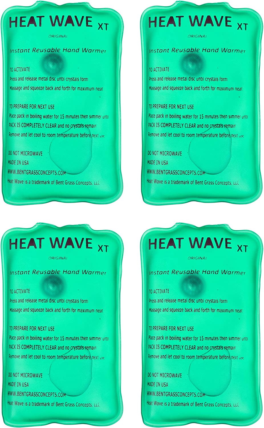 Heat Wave Instant Reusable Hand Warmers - Premium Medical Grade - Click to Heat - Made in USA