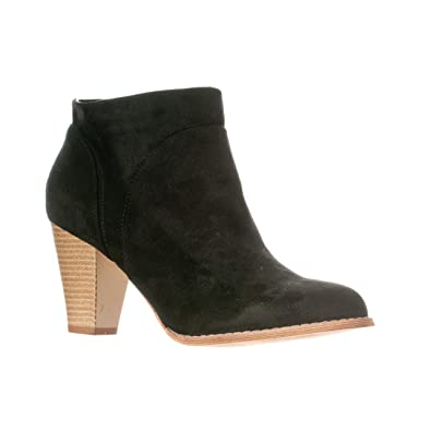 518d844924618 Riverberry Women's Chloe Chunky, High Heel Faux Suede Ankle Bootie Boots,  Black, ...