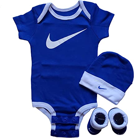 Nike Air Blue White Baby 3 Piece Infant Set 0 6 Months BodySuit Bib Booties Box