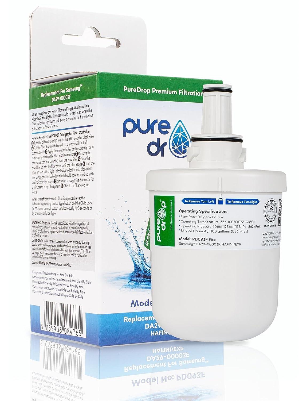 PureDrop PD093F Kompatibel Samsung DA29-00003F DA29-00003B Aqua Pure Plus HAFIN1//EXP K/ühlschrank Gefrierschrank Eis /& Wasser Filter