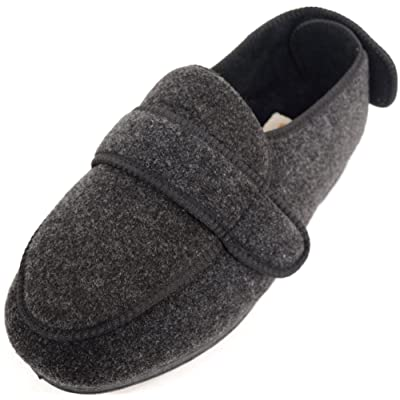 ABSOLUTE FOOTWEAR Mens Orthopaedic/Extra Wide Fit Adjustable Slipper Boot/Slippers | Slippers