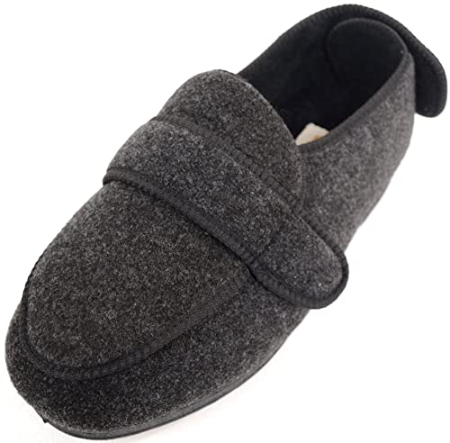 09b7088343b7 ABSOLUTE FOOTWEAR Mens Orthopaedic Extra Wide Fit Adjustable Slipper Boot  Slippers - Grey -