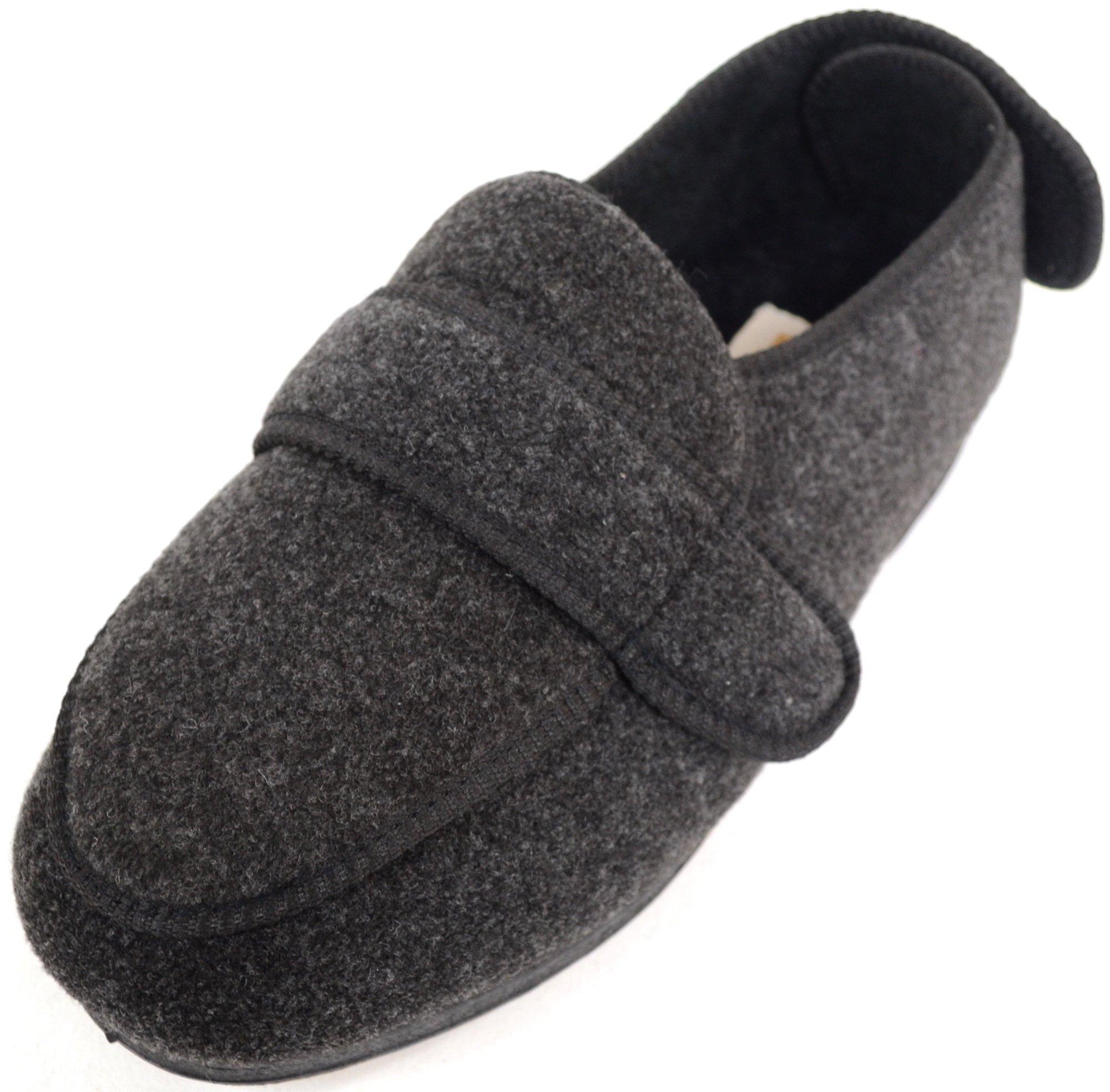 ABSOLUTE FOOTWEAR Mens Orthopaedic/Extra Wide Fit Adjustable Slipper Boot/Slippers - Grey - 10 US by ABSOLUTE FOOTWEAR (Image #1)