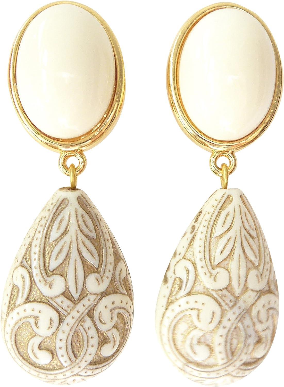 Pendientes de color marfil, muy ligeros, grandes pendientes, dorados, piedra, color beige, colgante, forma de gota, ornamentos de diseñador JUSTWIN