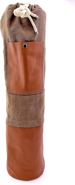 Upcountry Textiles、引き紐付きエクササイズヨガマットキャリーバッグ、28インチ x 7インチ、ブラウンレザーポケットとボトム ブラウン