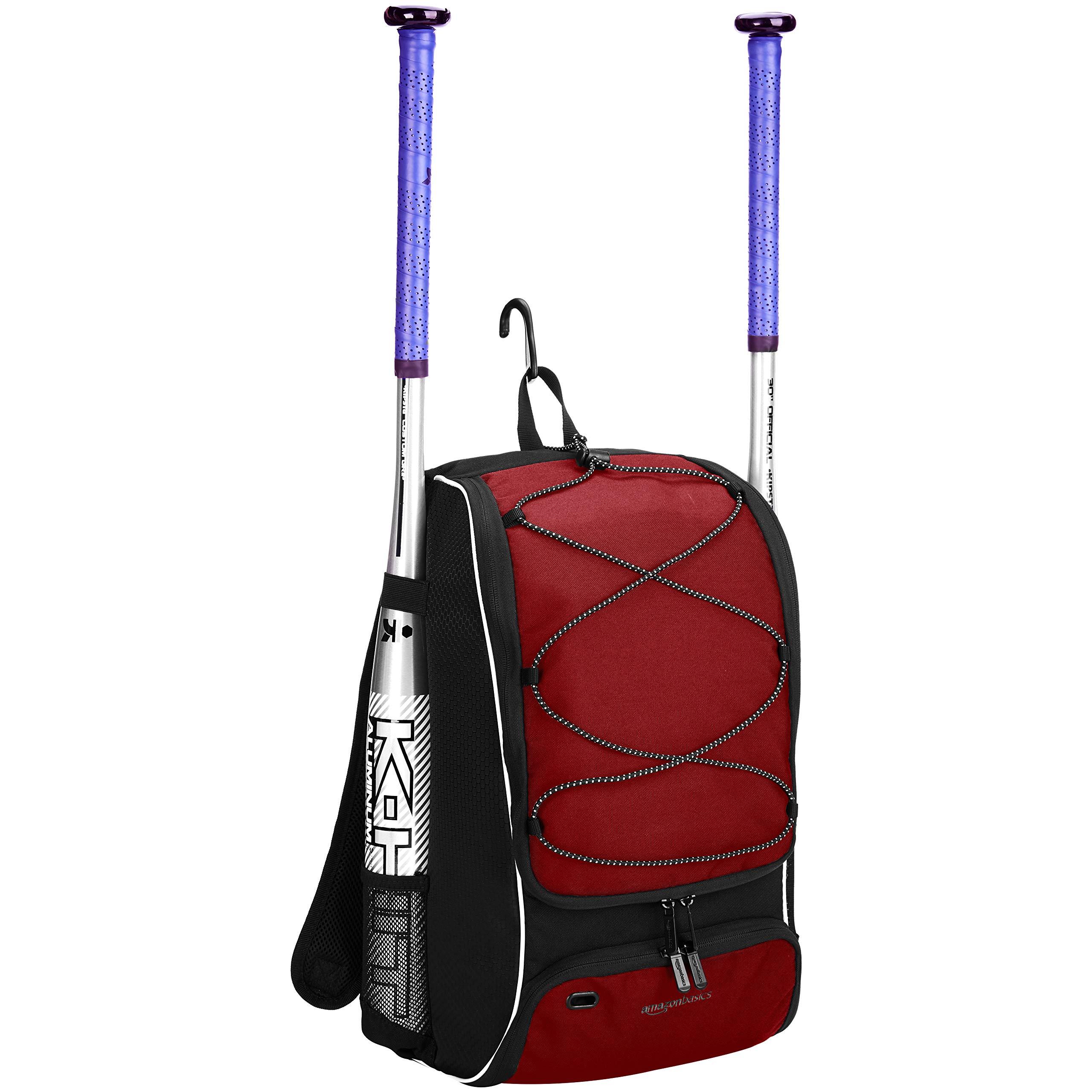 AmazonBasics Youth Baseball Equipment Backpack, Red by AmazonBasics (Image #2)