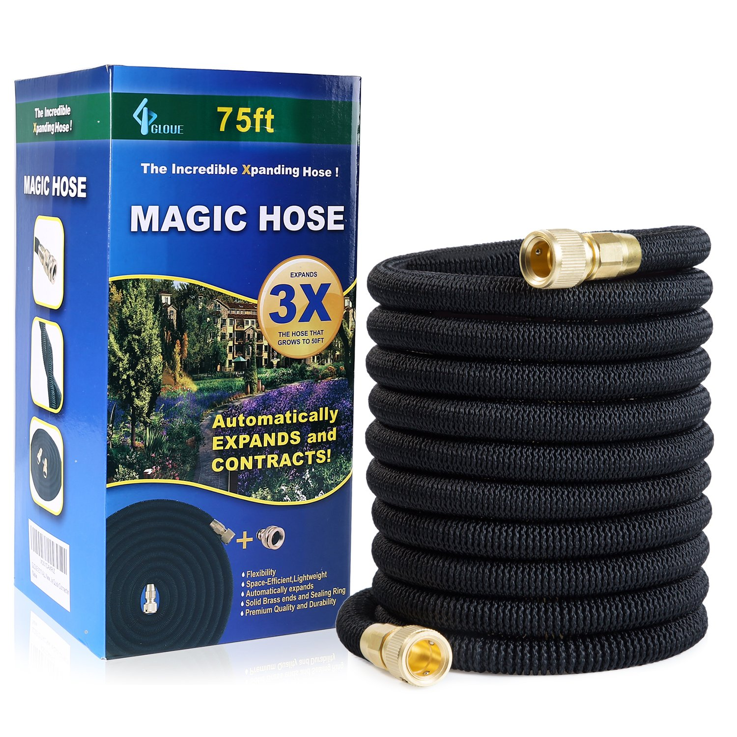 Garden Hose Expandable Magic Water Hose Solid Brass Connector Durable Latex Core & Strength Fabric 3/4 Solid Brass Fittings (75FT)