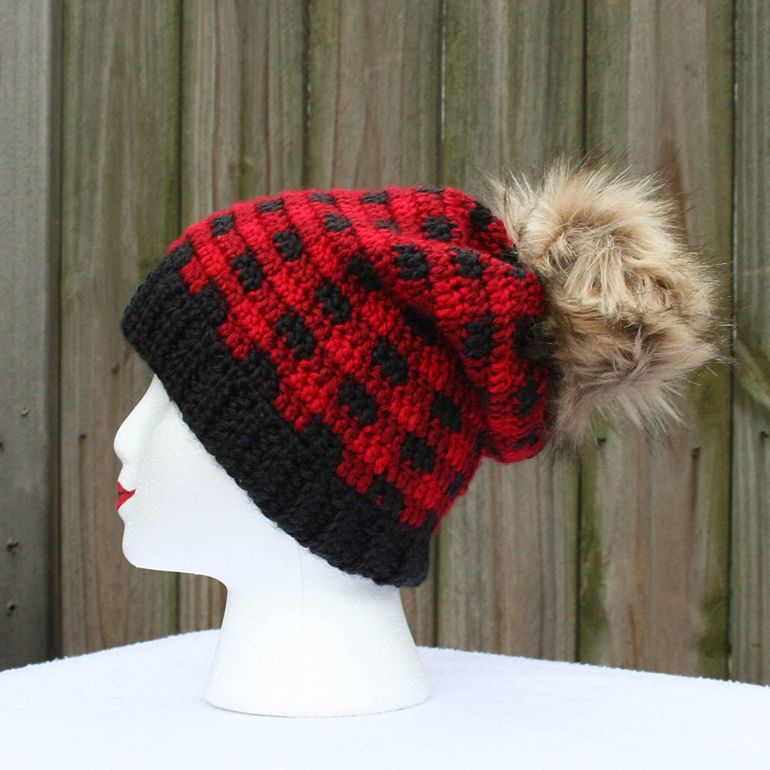Amazon.com  Women s Crochet Red Buffalo Plaid Slouchy Beanie With Faux Fur  Pom  Handmade 68e8519457b