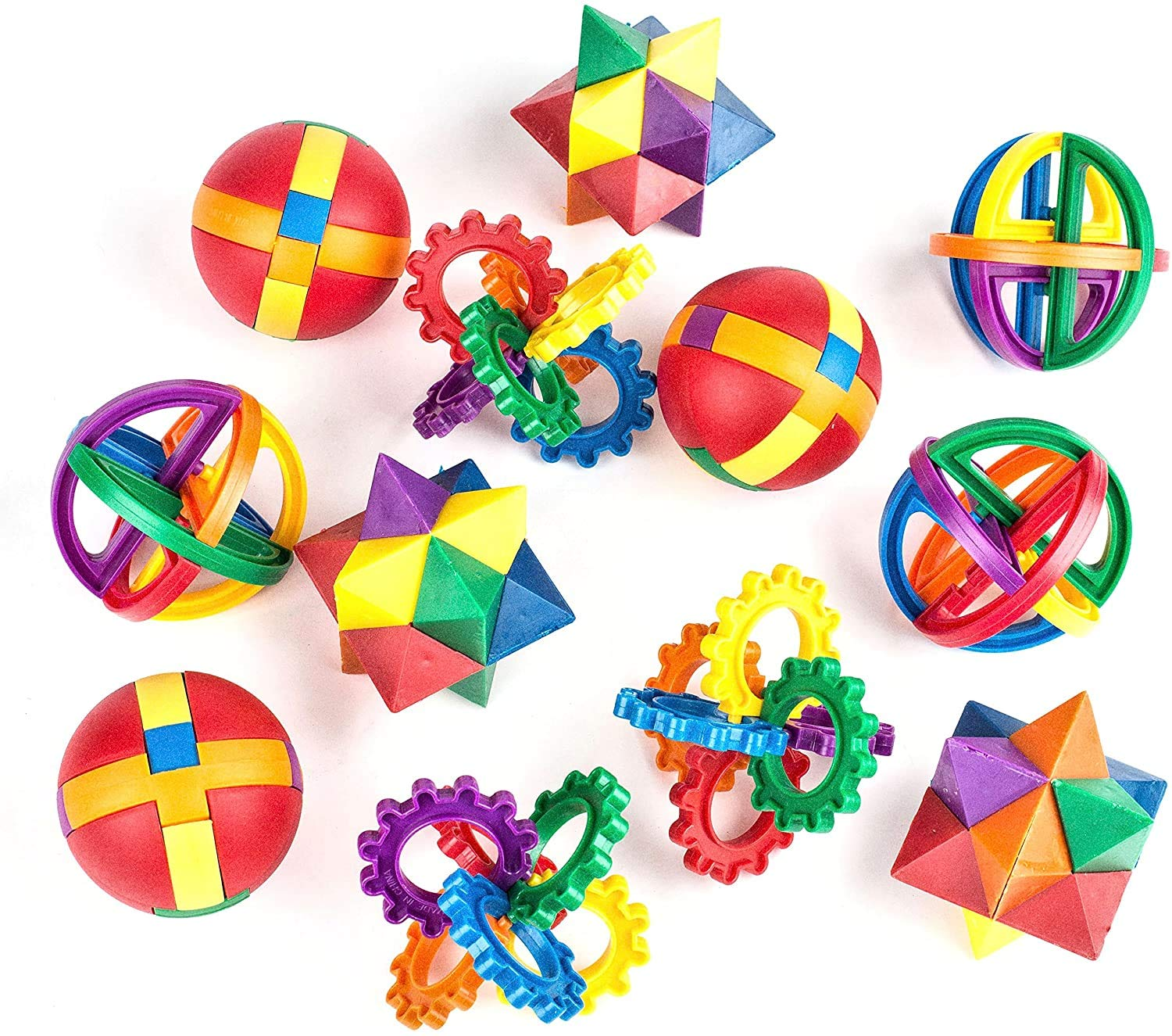 Neliblu Party Favors for Kids - Fun Puzzle Balls - Goody Bag Fillers - Treasure Box Prizes for Classroom, Carnival Prizes, Fidget Brain Teaser Puzzles (12 Pack) Clear Instructional Videos Included!