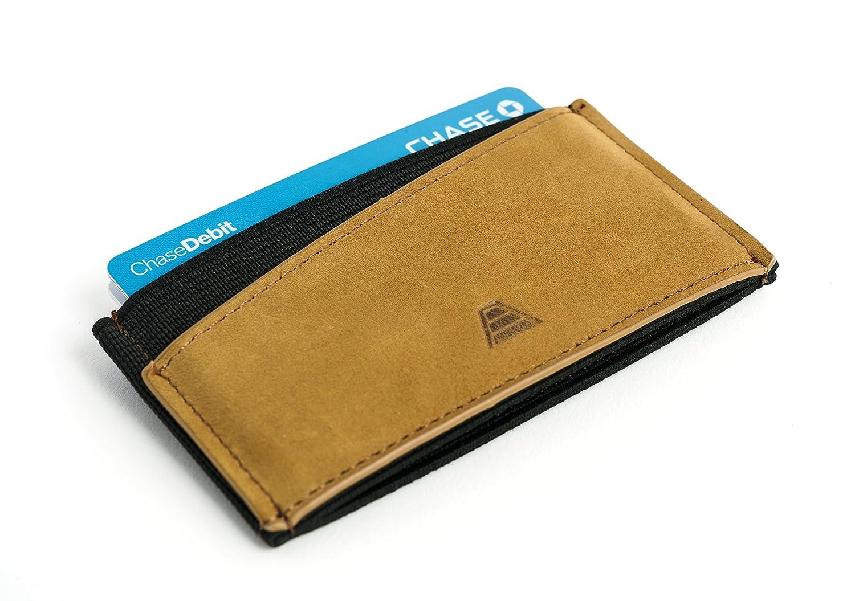 Andar Minimalist Ultra Slim Premium Leather Elastic Front Pocket Wallet