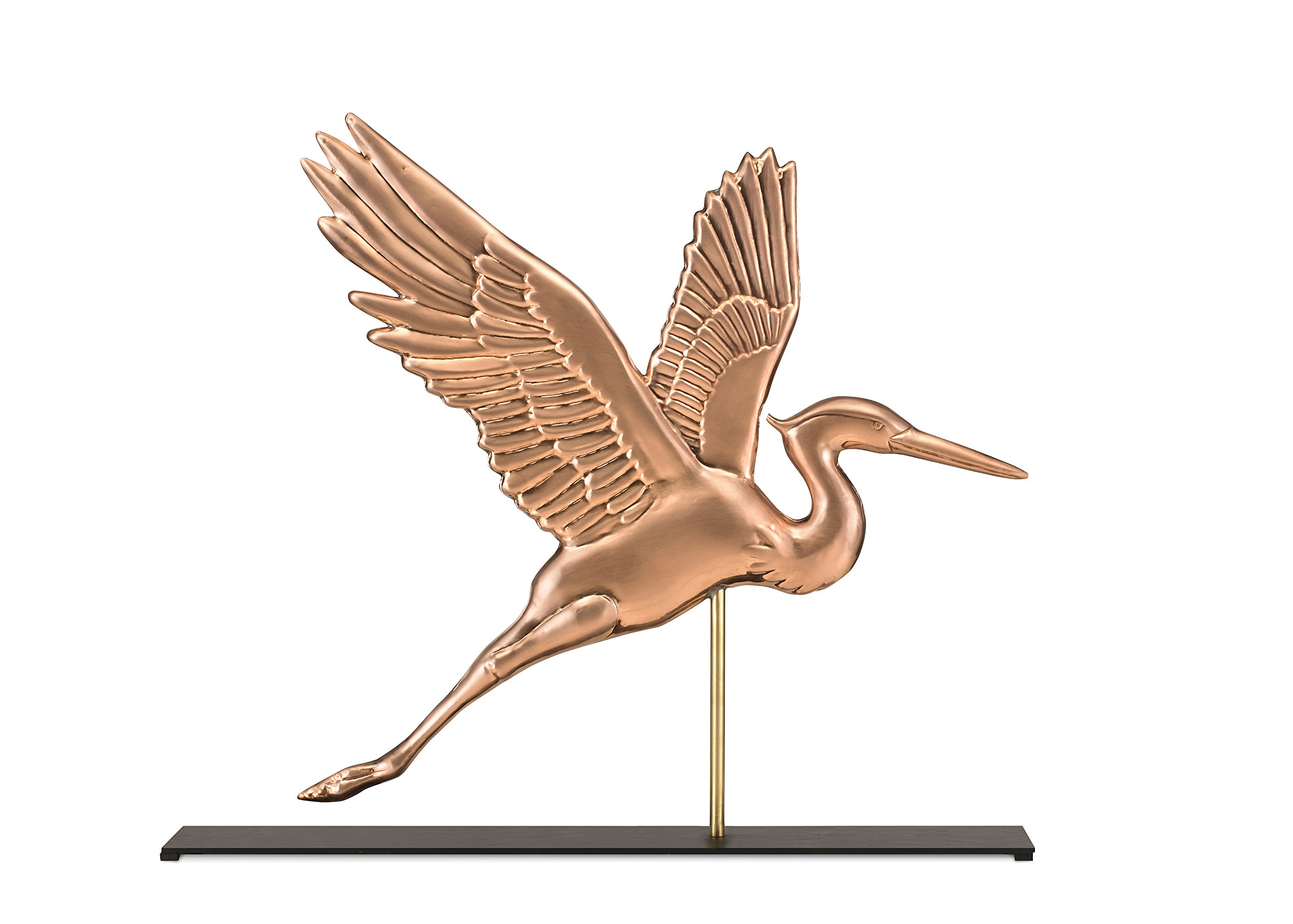 Good Directions Graceful Blue Heron Pure Copper Weathervane Sculpture on Mantel Stand: Home Décor