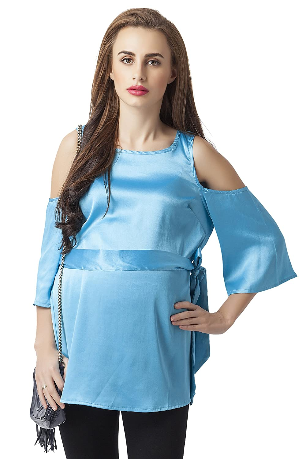 e0daf8f2a704b7 Blush 9 Maternity Blue Cold Shoulder Maternity Top: Amazon.in: Clothing &  Accessories