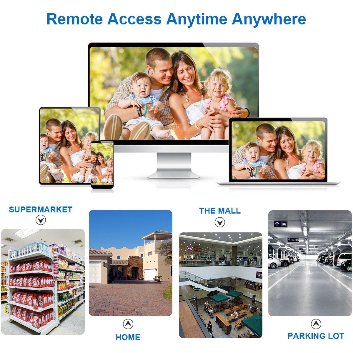 FLOUREON Videoüberwachung 8CH AHD 1080N DVR + 8X 3000TVL 2.0MP Überwachungskamera (3000TVL+ 8 Kameras)