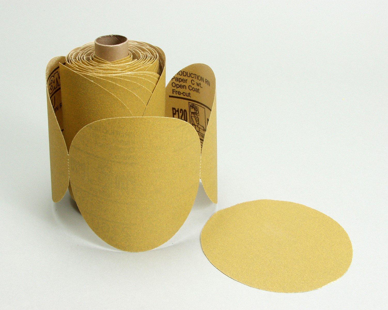 3M(TM) Stikit(TM) Paper Disc Roll 236U, C-weight, Pressure-Sensitive Adhesive (PSA) Attachment, Aluminum Oxide, 6'' Diameter, P80 Grit, Gold  (Pack of 1)