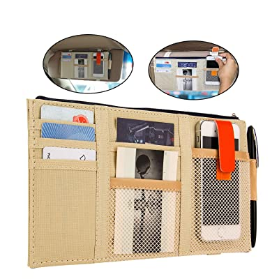 Lelance Multifunctional Visor Storage Case,Car Sun Visor Holder Pouch with Zipper Cross-Border Storage Organizer Bag Car with Shading Block Customization (Beige): Automotive