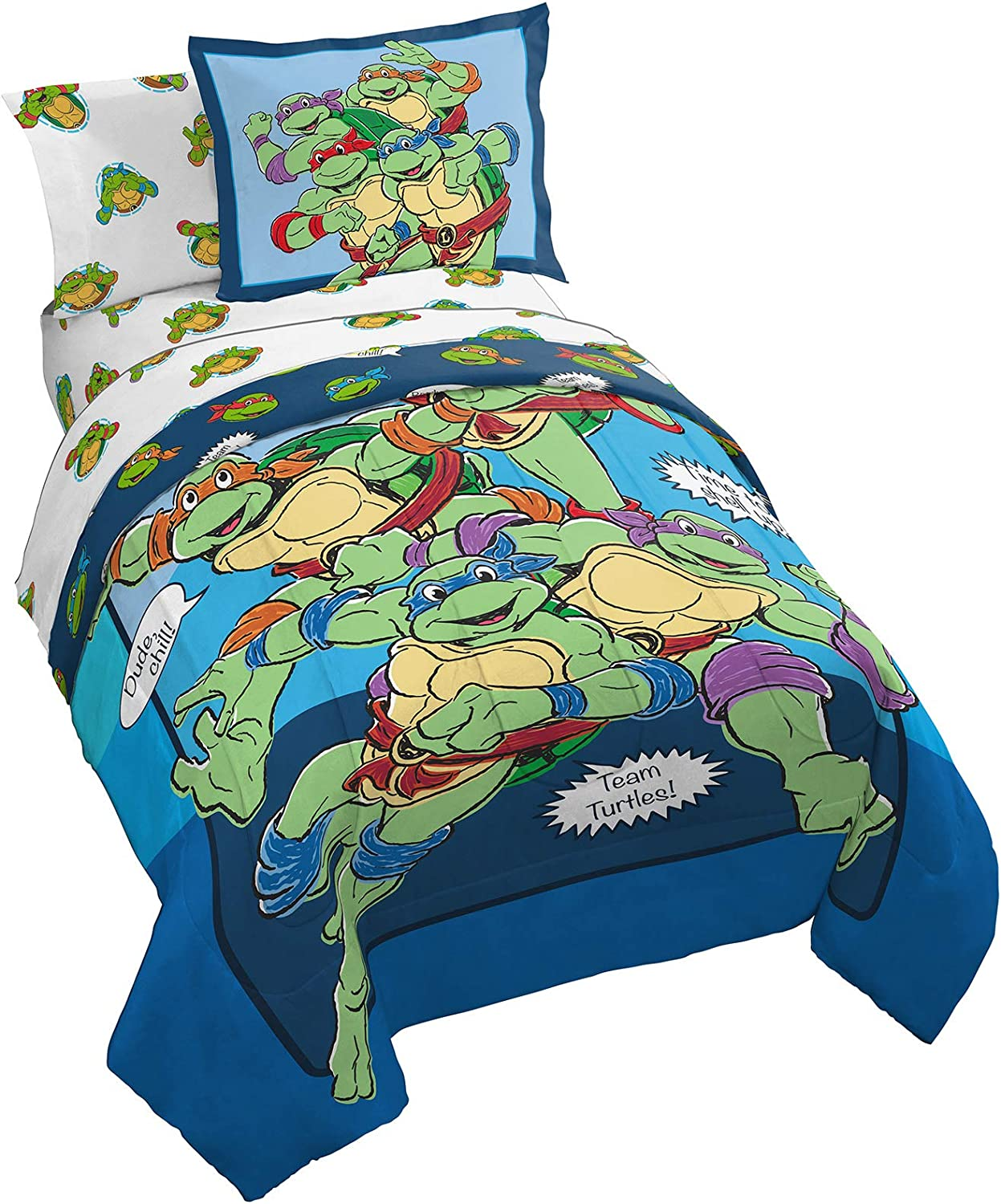 Nickelodeon Teenage Mutant Ninja Turtles Ready To Roll 7 Piece Full Bed Set - Includes Reversible Comforter & Sheet Set Bedding - Super Soft Fade Resistant Microfiber (Official Nickelodeon Product)