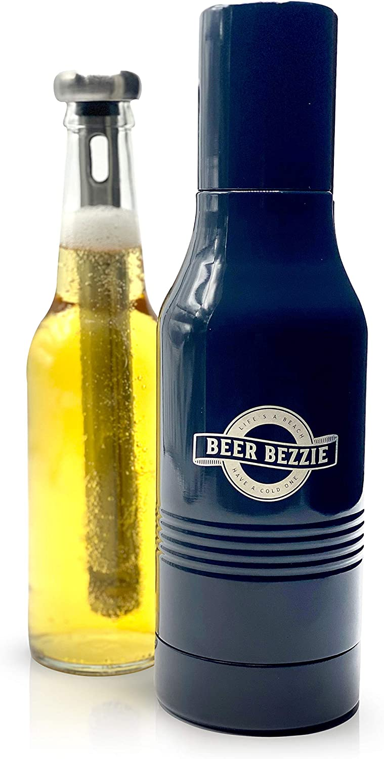 Beer Bezzie | Beer Bottle Insulator with BONUS Chill Stick & Bottle Opener | Double Wall Stainless Steel Bottle Cooler For Standard 12 oz Beers | Vacuum Sealed Beer Bottle Holder (Charcoal)