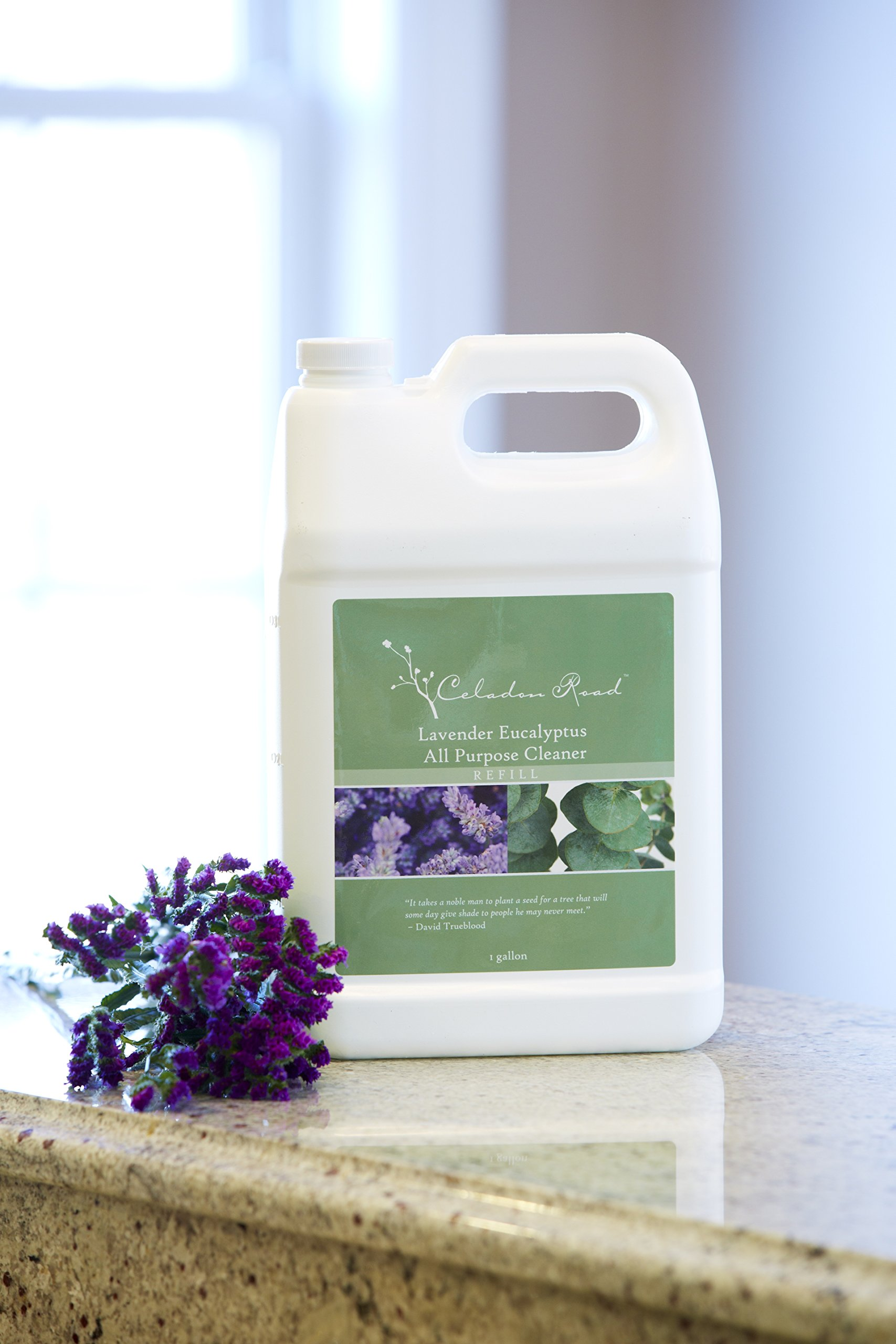 Celadon Road Lavender Eucalyptus All Purpose Cleaner Refill, 1 Gallon All Natural Enzymes and Organic Ingredients. Best for kitchens, counters and bath.
