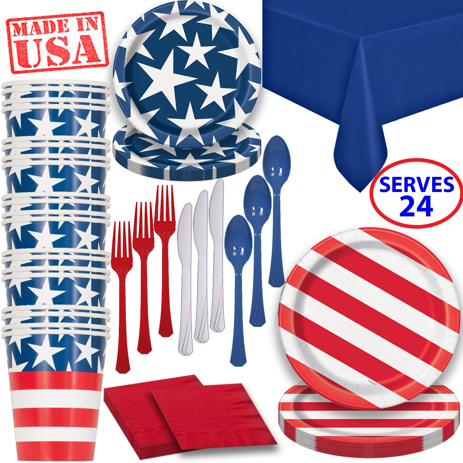Disposable Paper Dinnerware for 24 - Patriotic - 2 Size plates, Cups, Napkins , Cutlery (Spoons, Forks, Knives), and tablecovers - Full Party Supply Pack