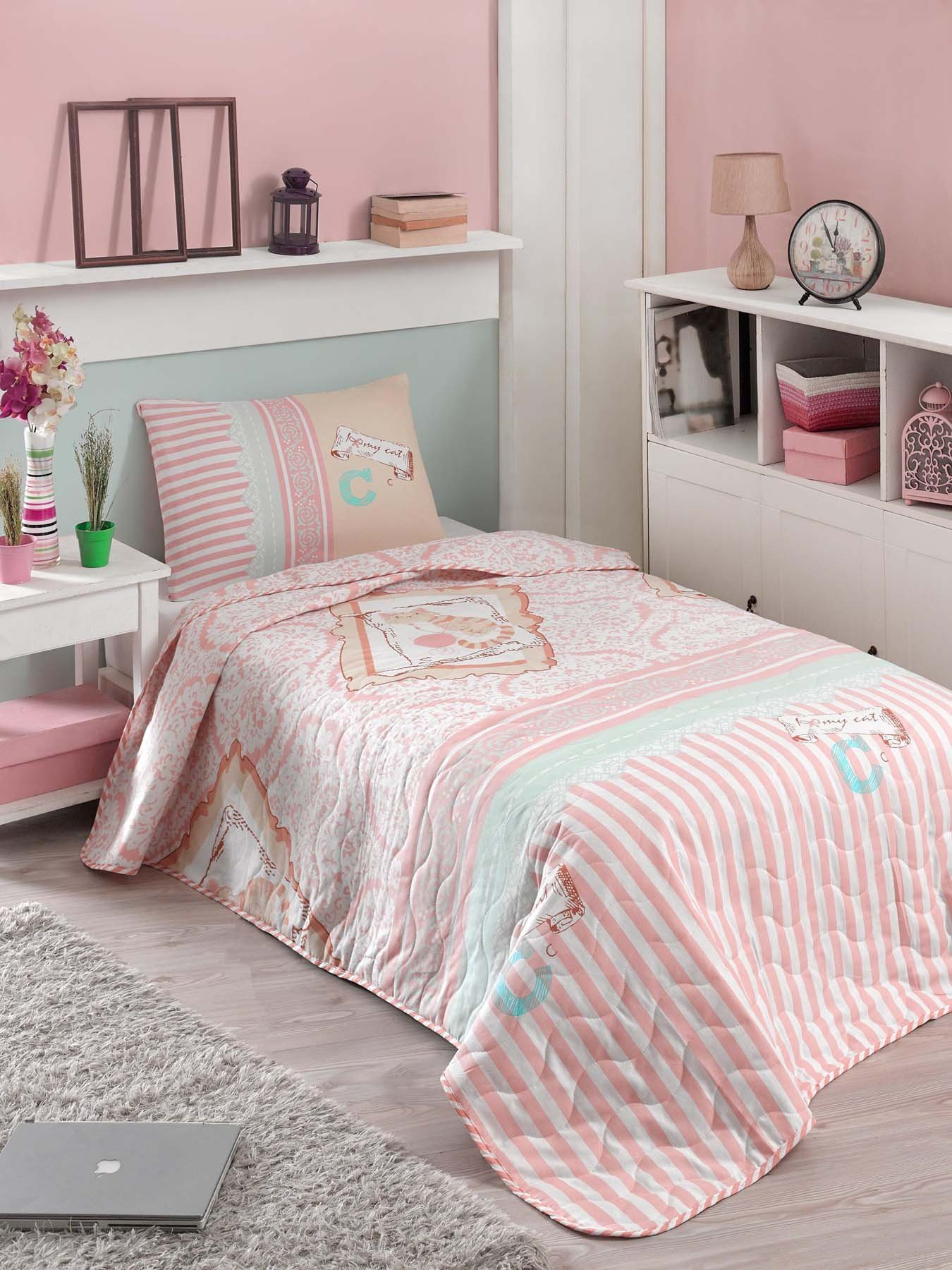 2 Pcs Twin and Single Bedroom Bedding Soft Colored [65% Cotton 35% Polyester (Cover)] / 100% FIBER (Filling) / Single Quilted Bedspread Set Soft Relaxed Comfortable Pattern Cat Animal Colourful Single
