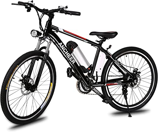 "ANCHEER 500W/250W Electric Bike Adult Electric Mountain Bike, 26"" Electric Bicycle 20Mph with Removable 12.5Ah/8AH Lithium-Ion Battery, Professional 21 Speed Gears"
