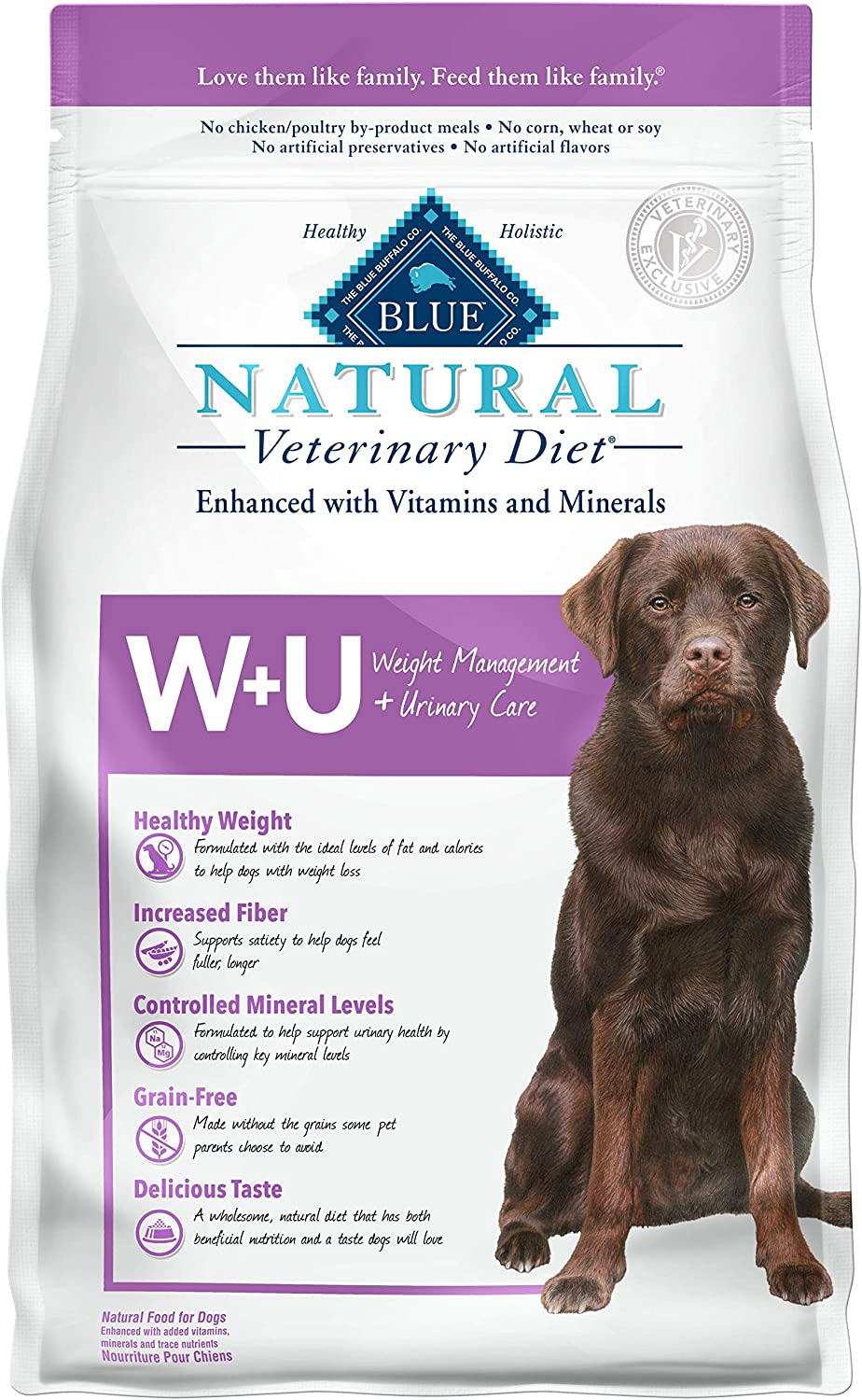 4. Blue Buffalo Natural Veterinary Diet Weight Management + Urinary Care for Dogs