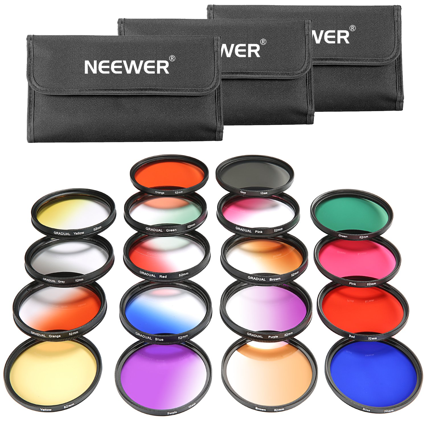 Neewer 52MM 18 Pieces Lens Filter Kit Includes:9 Pieces Full Color Filter, 9 Pieces Graduated Filter,3 Filter Pouch for Nikon D7100 D7000 D5200 D5100 D5000 D90 D80 and Other DSLR Camera with 52MM Lens