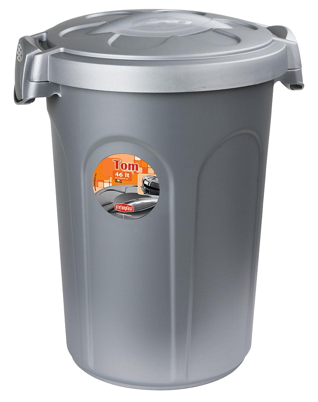 Stefanplast Contenedor de comida Tom, 16kg, 46 l, 44,5 x 40 x 61cm, gris Kerbl 82269