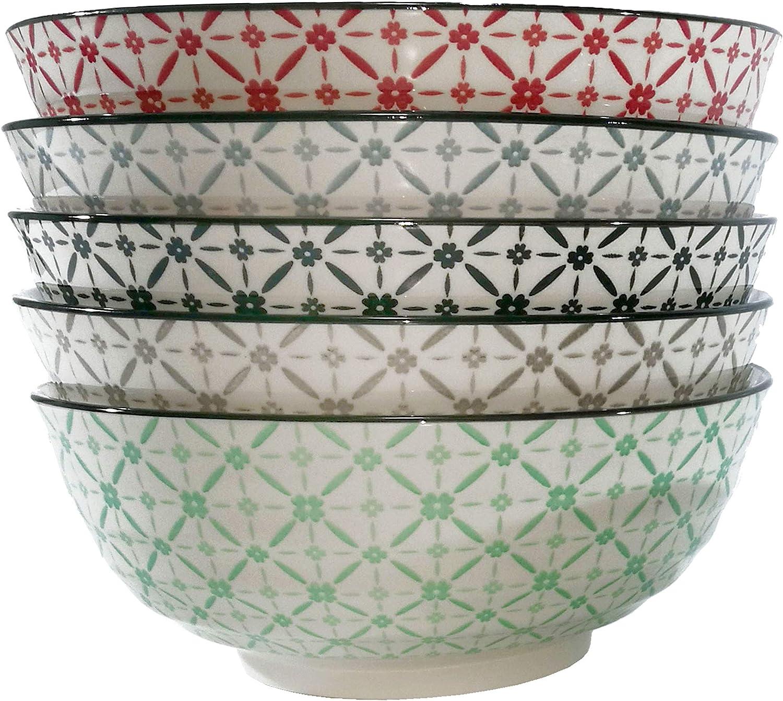 general trade Saladier en c/éramique avec d/écorations Vertes et Grises /Ø 23 cm