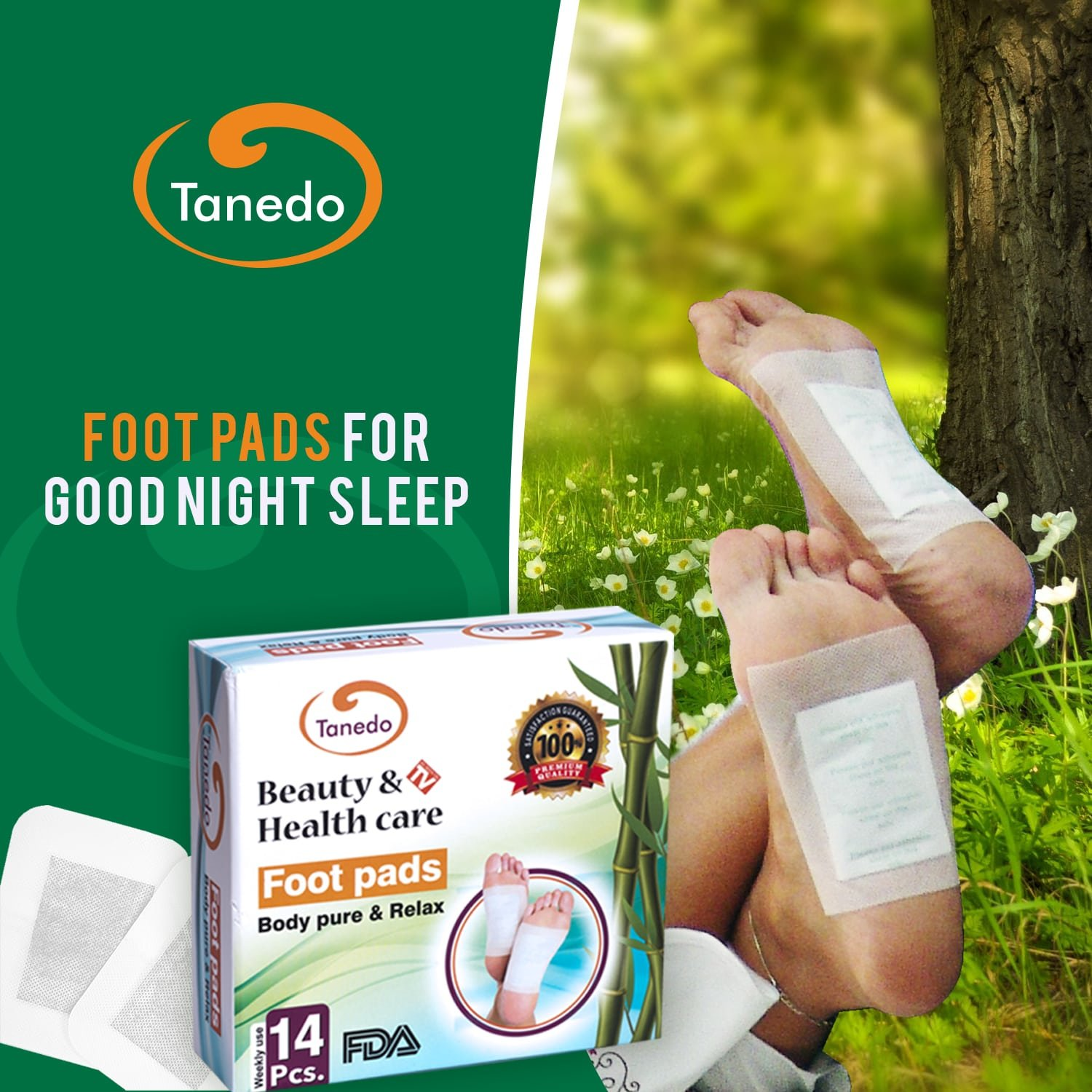 Foot Pads for Good Night Sleeps, Helps Body Cleansing, Pain Relief, 14 Pcs.