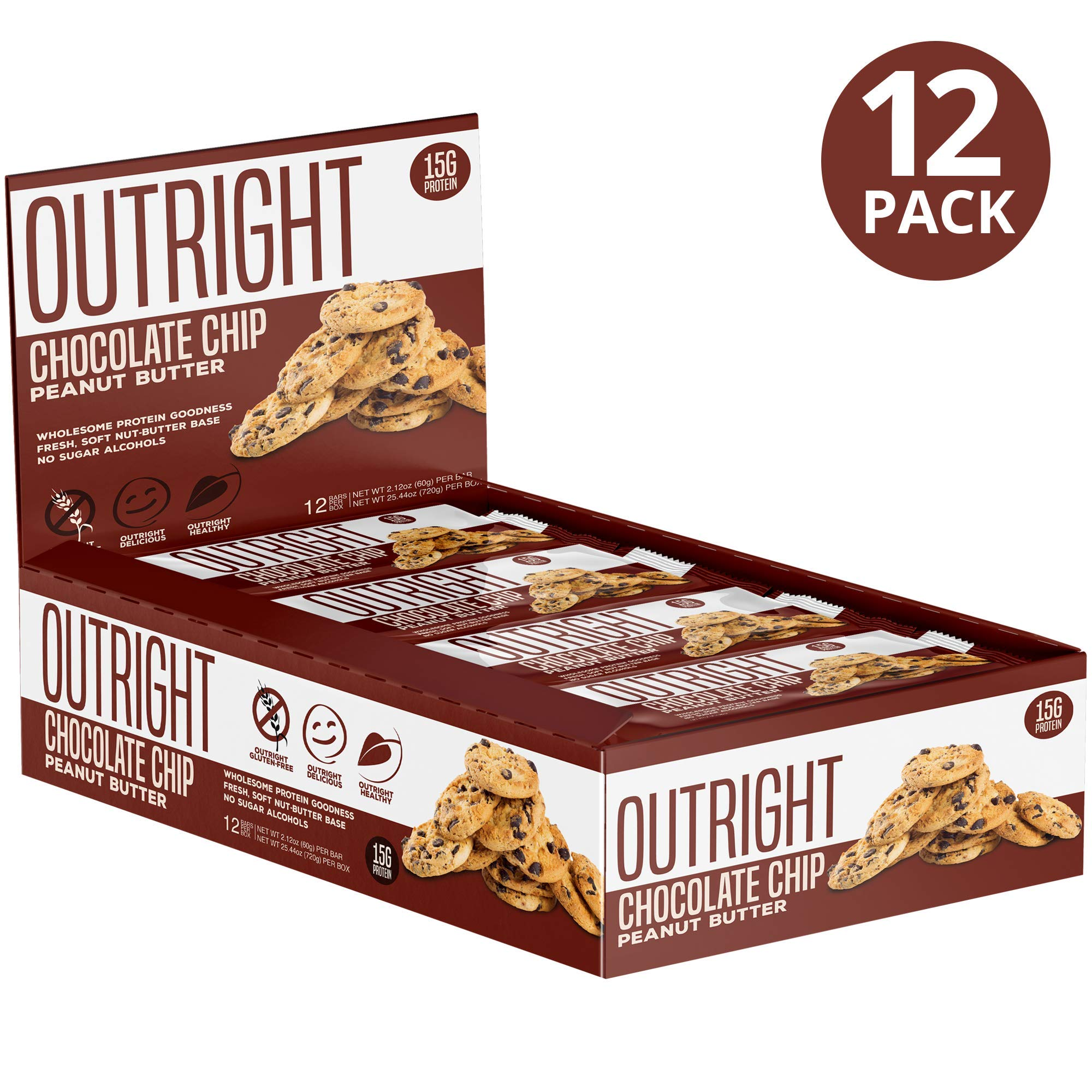 Outright Bar - Whole Food Protein Bar - 12 Pack - MTS Nutrition - Peanut Butter Chocolate Chip by MTS Nutrition
