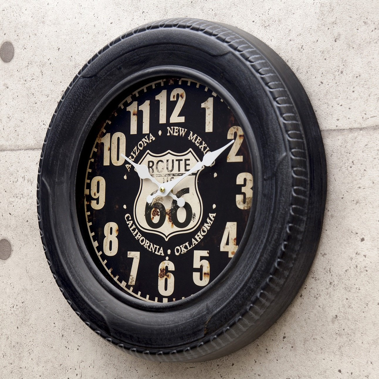 アメリカン ビンテージ風 タイヤ クロック (φ40cm) 掛け時計 Route66 ルート66 グッズ アメリカ アメリカン 雑貨 掛時計 時計 B076N6KC3L