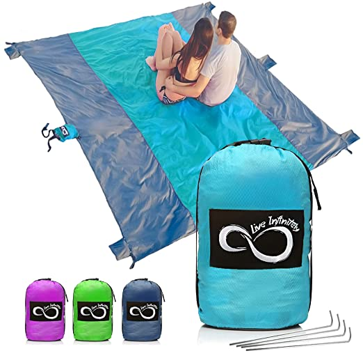Live Infinitely Sand Free Beach Blanket  7 Person 9' X 10' Sand Proof Mat – Travel Friendly For Festivals & Hiking  Extremely Soft Quick Drying Heat Resistant Nylon  Weighable Pockets + by Live Infinitely