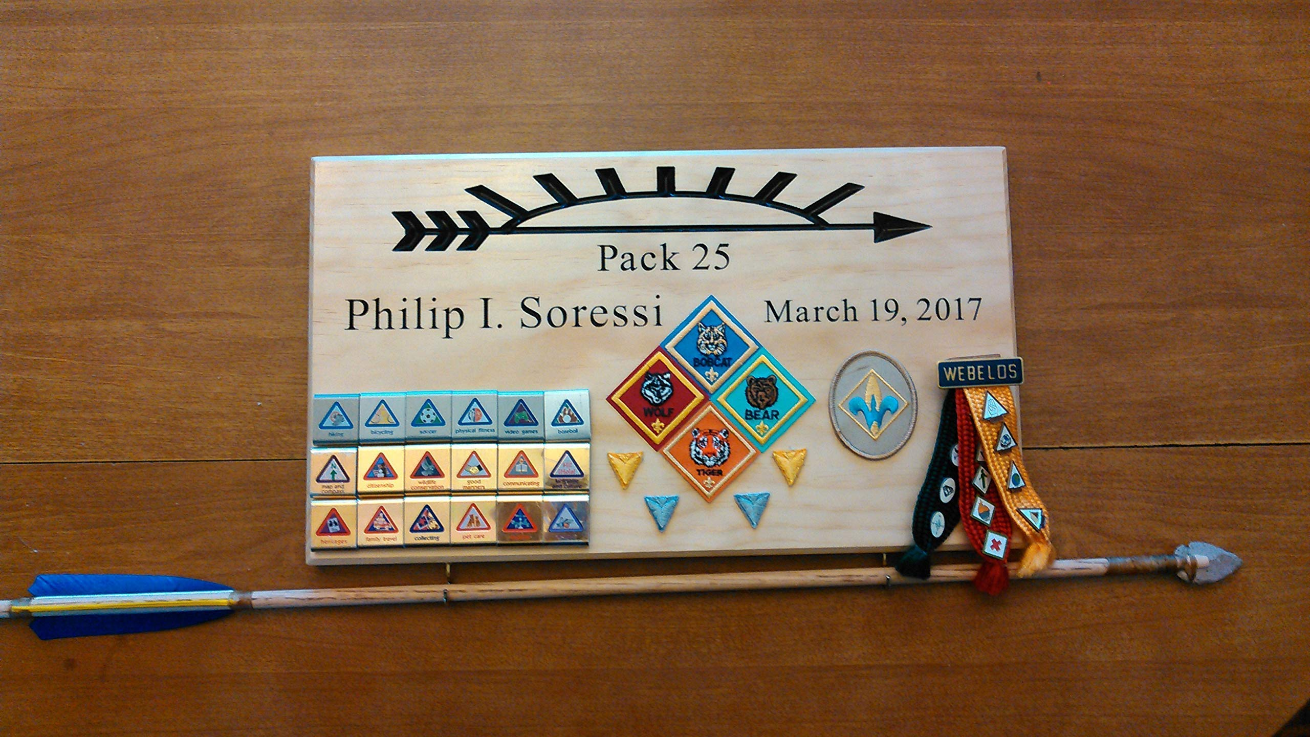 Arrow of light award, Arrow of light large plaque, Arrow of light ceremony, Cub Scout Arrow of light, Webelos Arrow of light, Scout Award Display, Crossover Ceremony by The Hamlin Woodshop