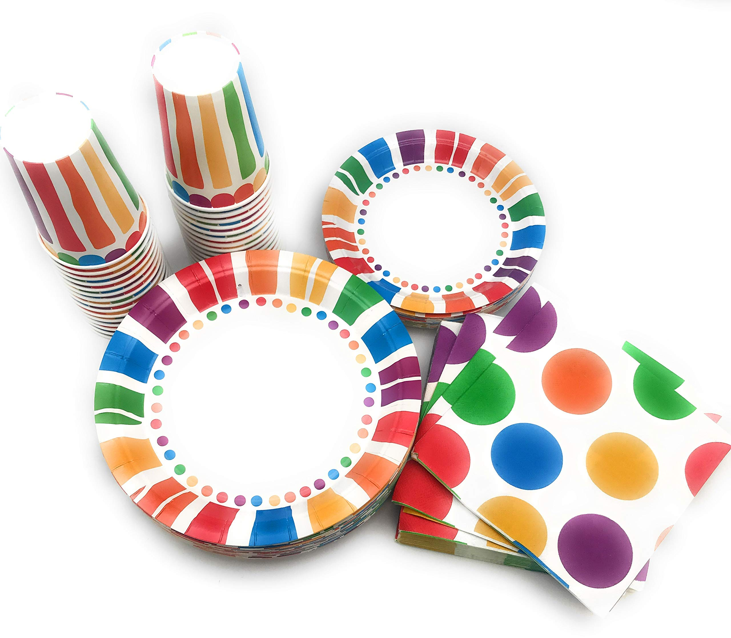 Serves 30 Rainbow Party Pack | 30 cups 9 oz | 30 Dessert Plates 7'' | 30 Dinner Plates 9'' | 30 Napkins | Serves 30 by Oojami (Image #2)