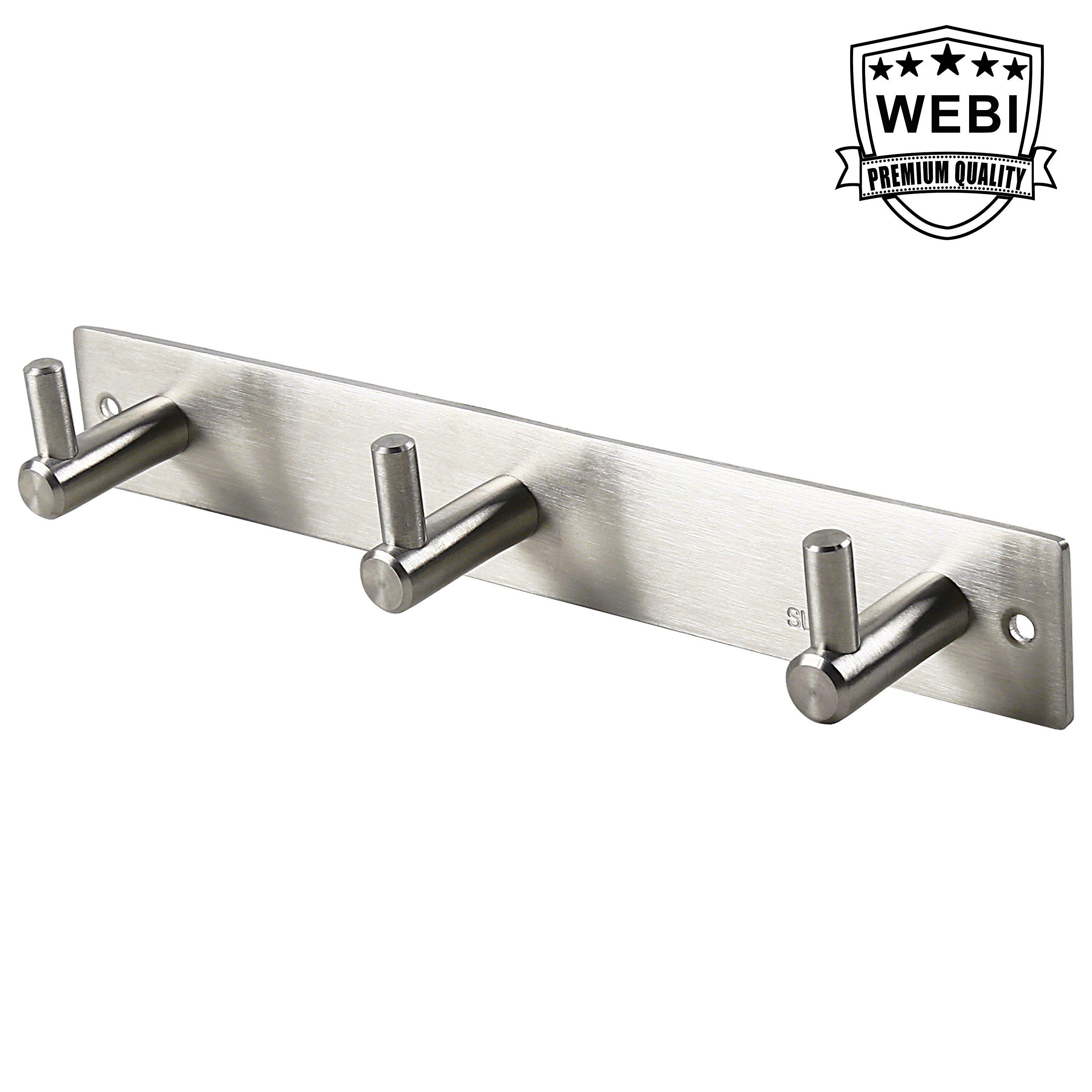WEBI Heavy Duty SUS 304 Coat Bath Towel Hook Hanger Rail Bar with 3 Hooks, Brushed Finish, for Bedroom, Bathroom, Foyers, Hallways, Entryway, Great Home, Office Storage & Organization, L-YZ03-1