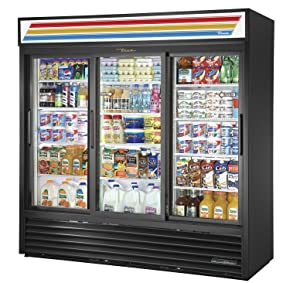 "True GDM-69-HC-LD Sliding Glass Door Merchandiser Refrigerator with Hydrocarbon Refrigerant and LED Lighting, Holds 33 Degree F to 38 Degree F, 78.625"" Height, 29.625"" Width, 78.125"" Length"