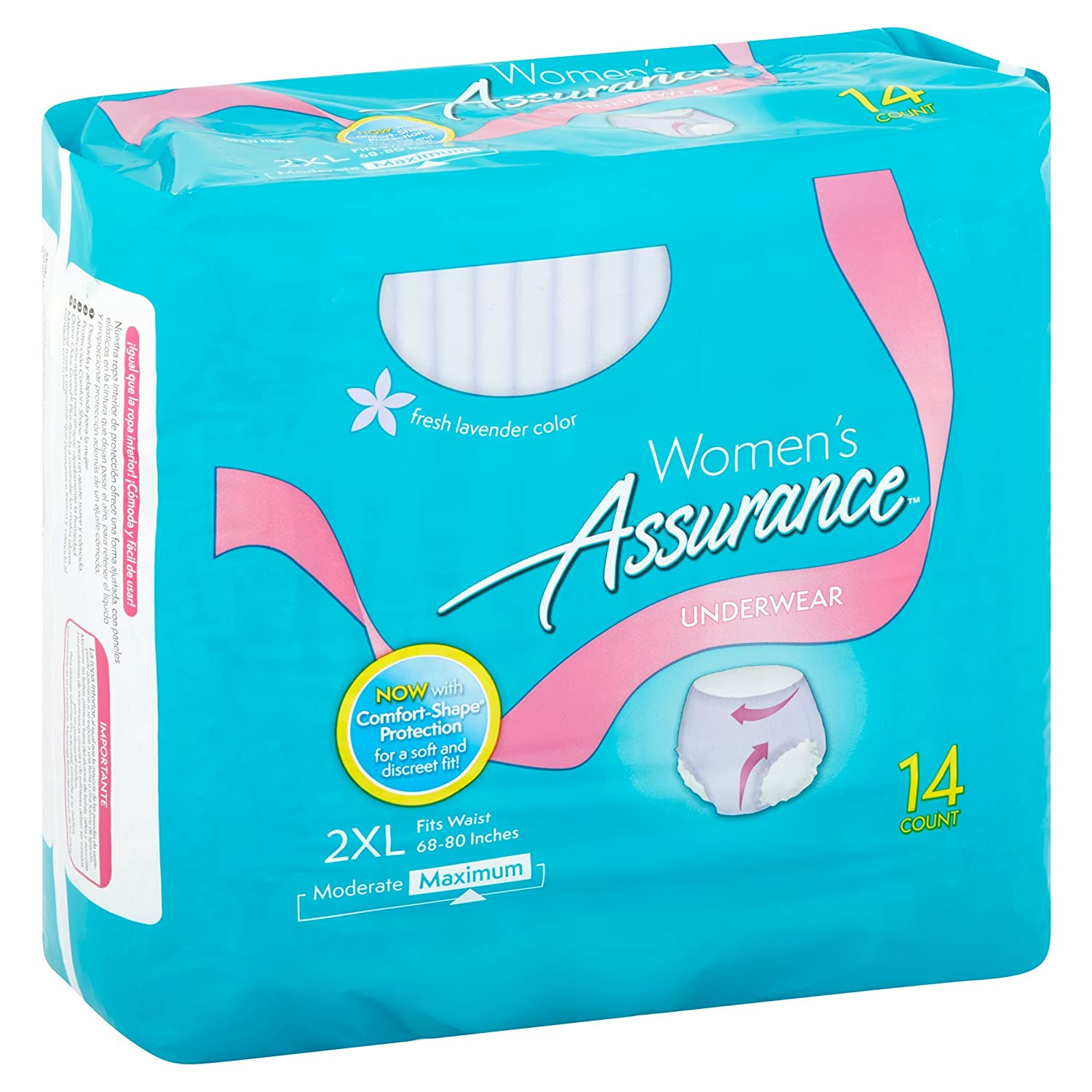 Amazon.com: PACK OF 5 - Womens Assurance Maximum Fresh Lavender Color Underwear 2XL 14 Counts: Health & Personal Care