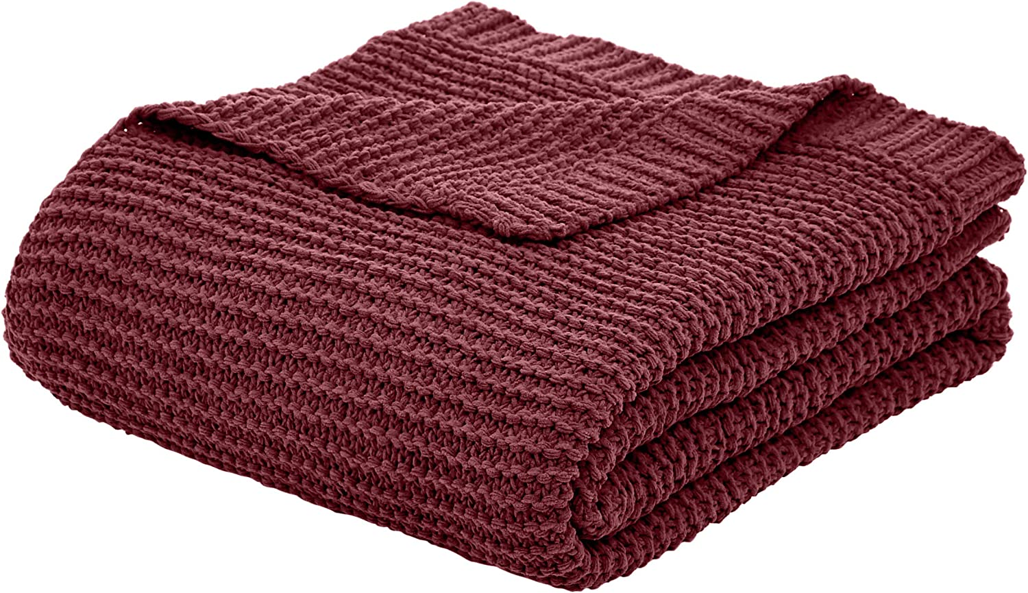 AmazonBasics Knitted Chenille Throw Blanket - 66 x 90 Inches, Bordeaux