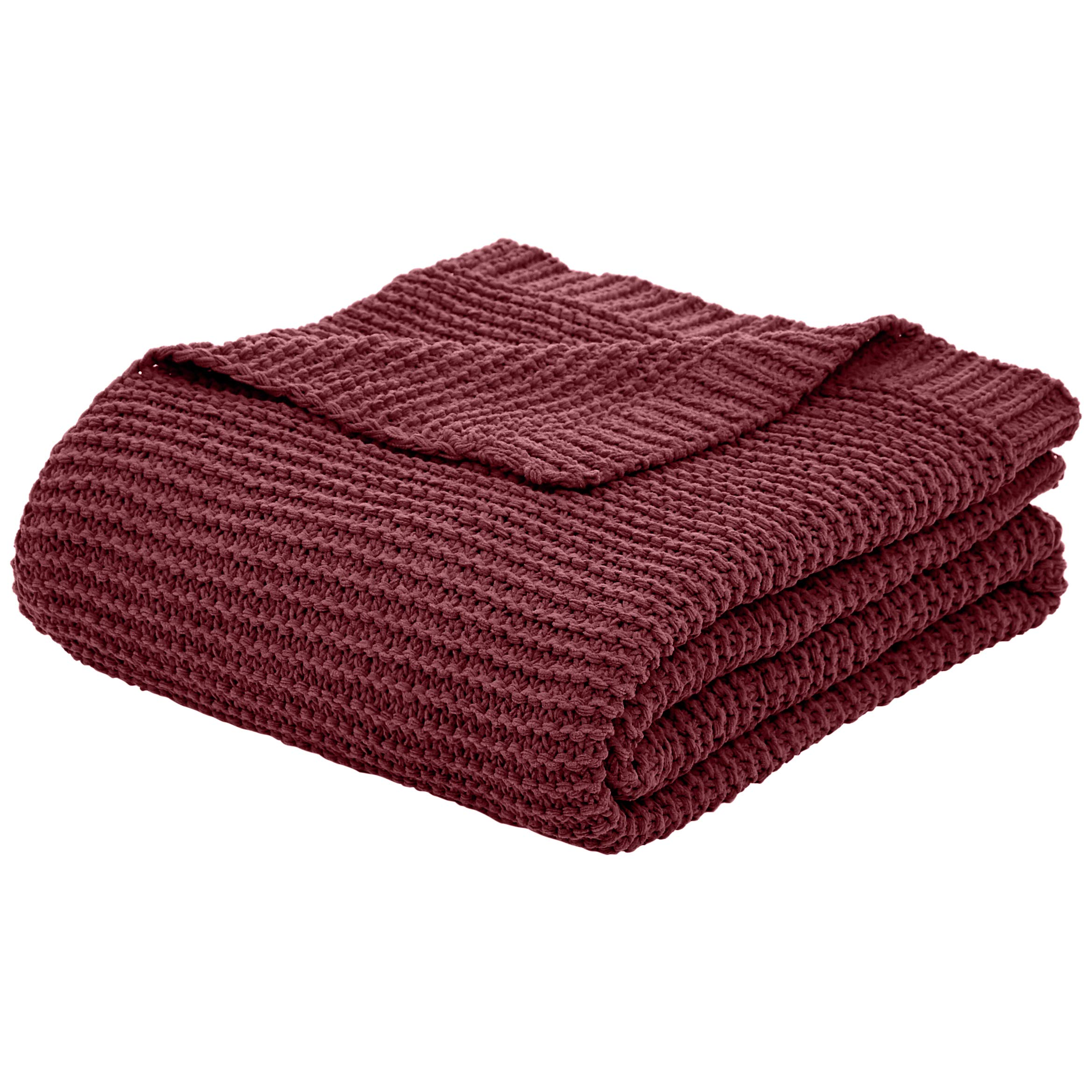 AmazonBasics Knitted Chenille Throw Blanket - 66 x 90 Inches, Bordeaux by AmazonBasics