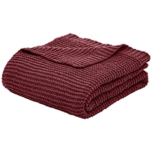 AmazonBasics Knitted Chenille Throw Blanket - 50 x 60 Inches, Bordeaux