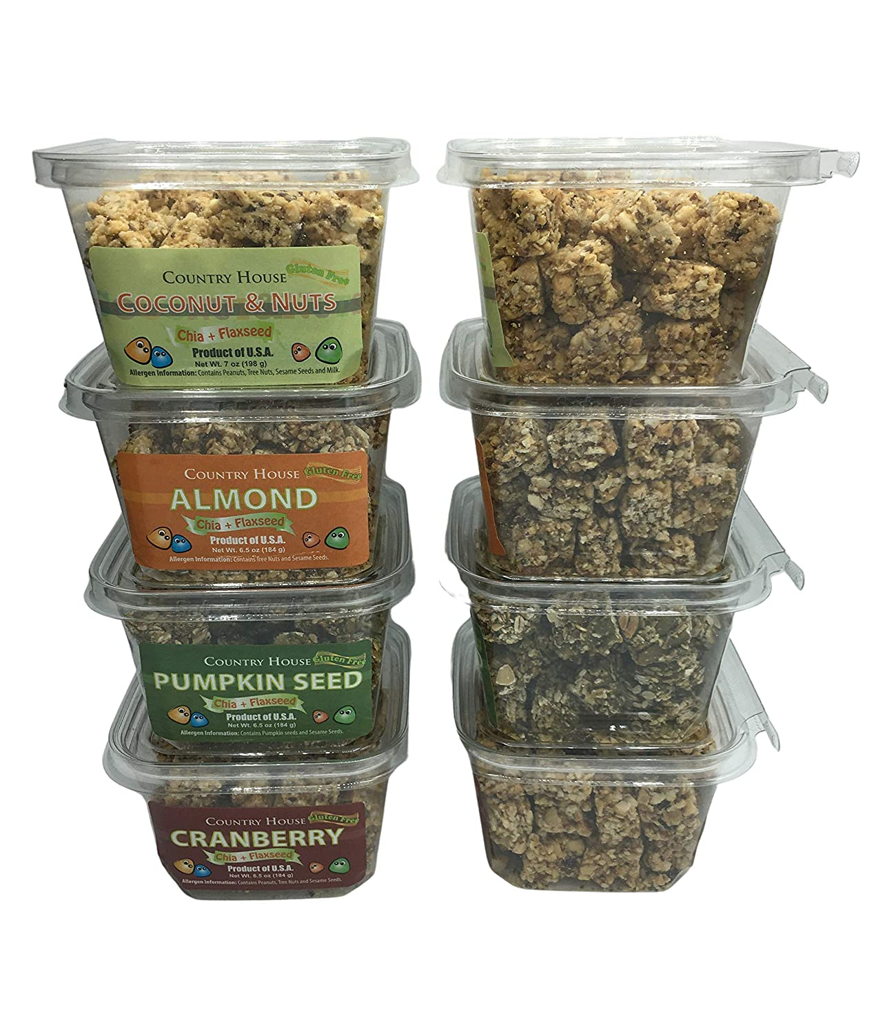 Country House Variety Nut Snacks (8 Counts) with Chia and Flaxseed, All Natural, Easy to Read Ingredients, No Artificial or Natural Flavors Added, No Gluten, Low Sodium, and a Crisp in Every Bite!