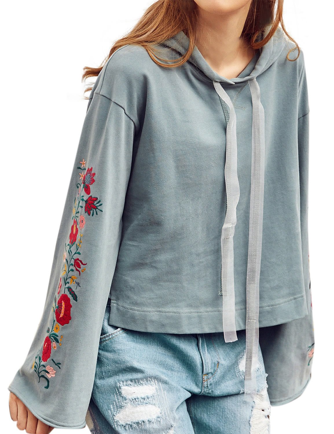 Artka Women's Vintage Embroidered Hoodie Cropped Pullover Cyan with Puff Sleeve