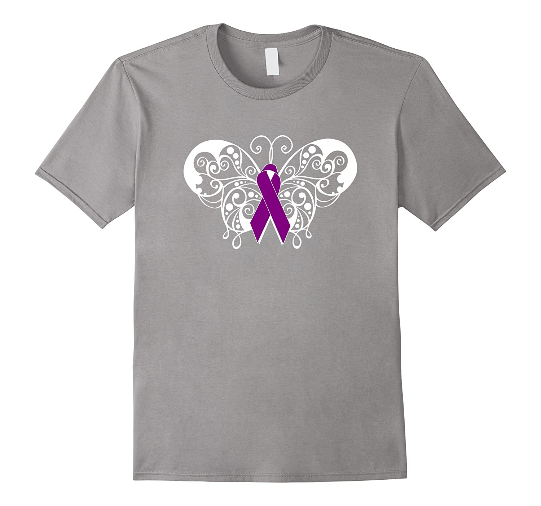 Pancreatic Cancer Awareness T Shirt Purple Ribbon Butterfly
