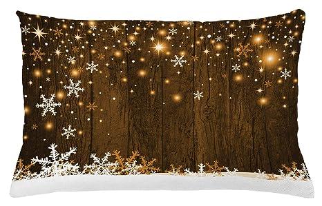 ABAKUHAUS Navidad Funda para Almohada, Fondo Rústico de Madera con Copos de Nieve y Cálida Estampa Festiva Tradicional, Material Lavable con ...