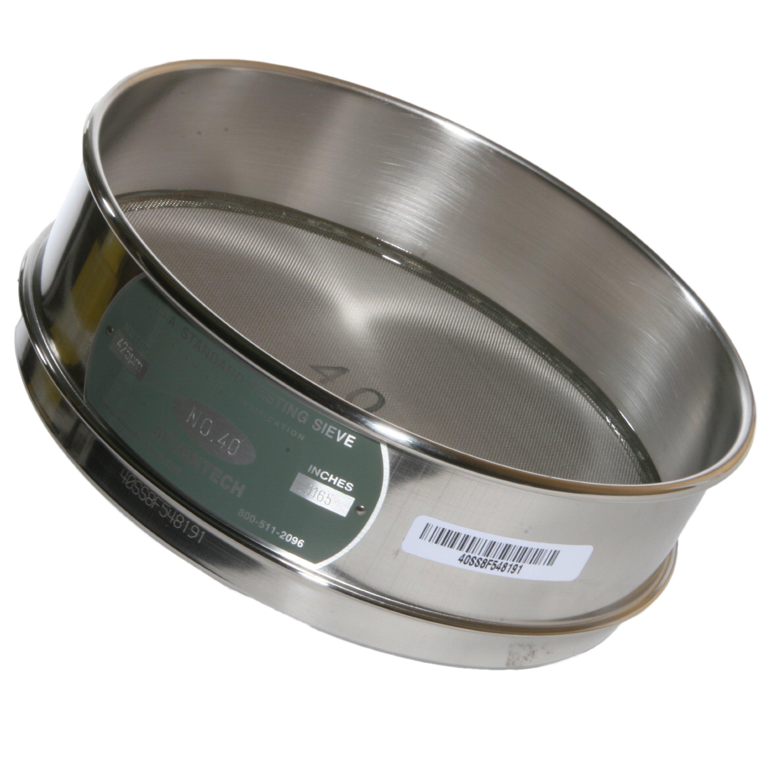 Advantech Stainless Steel Test Sieves, 8'' Diameter, #40 Mesh, Full Height