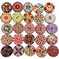 100pcs Boutons Ronds 20mm En Bois Pour Couture DIY Artisanat Décor Multicolore