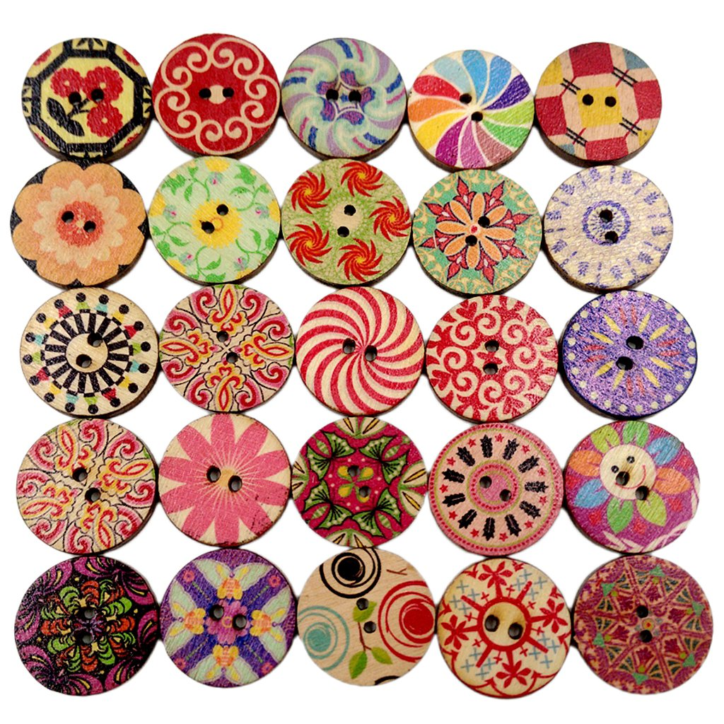 Generic Pack of 100 Round Decorative Wooden Buttons for Sewing Crafting 20mm 55017608